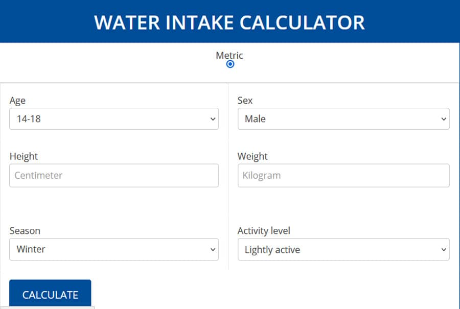 daily water intake calculator